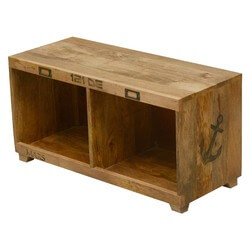 Anchors Away Mango Wood Coffee Table Bench w Open Cubbies