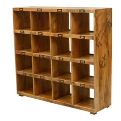 Tiny Hands Mango Wood 16 Section Open Back Storage Wall Unit