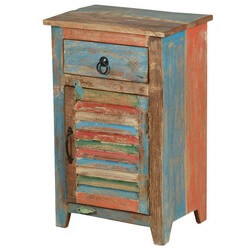 Country Washboard Door Reclaimed Wood Night Stand Mini Cabinet