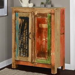 Industrial Labels Reclaimed Wood Free Standing Cabinet