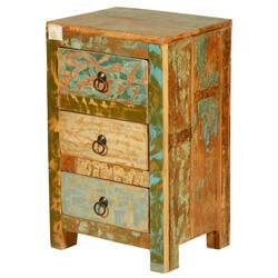Marbleized Reclaimed Wood 3-Drawer Nightstand Mini Dresser