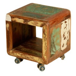 Rolling Cube Reclaimed Wood Movable Storage Cubical End Table