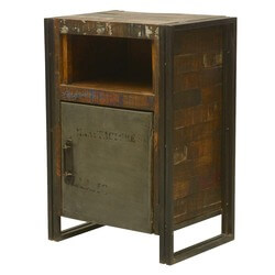 Industrial Fusion Reclaimed Wood & Iron Nightstand Cabinet w Shelf