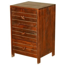 Parallel Lines Solid Teak Wood 3-Drawer End Table