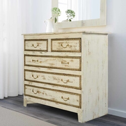 Rustic Solid Wood New Orleans Vanity Dresser with 5 Drawers