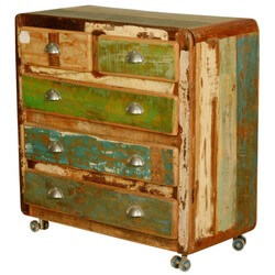 Retro Rustic Reclaimed Wood Rolling Chest of Drawers