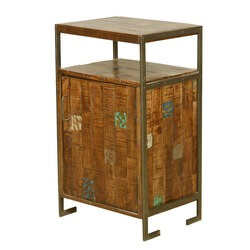 Nottingham Color Patches Reclaimed Wood and Iron Storage End Table