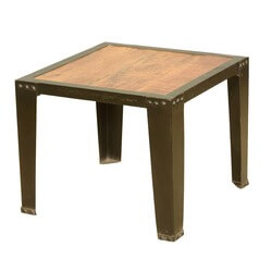 Rustic Industrial Style Acacia Wood & Iron Fusion End Table