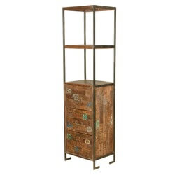 Modern Industrial Reclaimed Wood & Iron Display Tower w 3 Drawers