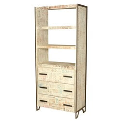 Industrial Fusion Old Wood & Iron Bookshelf Display Rack w 3 Drawers