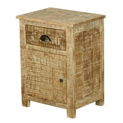 Amish Rustic Solid Wood Bedside End Table With Drawer