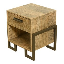 Industrial Style Rustic Solid Wood & Iron Bedside End Table w Drawer