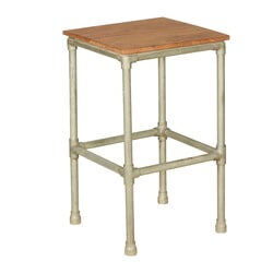 "Simply Industrial Acacia Wood & Iron 16"" Square End Table Stool"