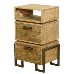 Modern Rustic Industrial Style Solid Wood & Iron Bedside End Table