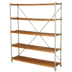 French Library Shelving Wood & Iron Industrial Rolling Cart