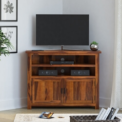 Farmhouse Solid Wood Corner TV Media Stand