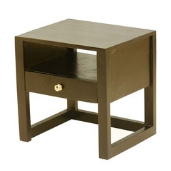 New Age Mango Wood Open Shelf Nightstand Accent Table w Drawer