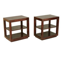 Contemporary Mango Wood 3-Tier Open Sided End Tables Set of 2