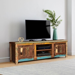 Retro Style Reclaimed Wood Media Console TV Stand with 2 Doors