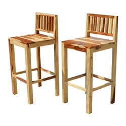 Dallas Ranch Solid Wood Tall Counter Low Back Bar Chairs Set