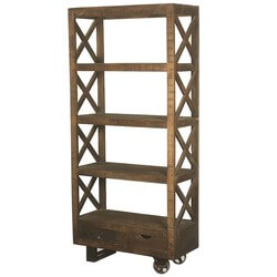 "Industrial Tower Mango Wood Rolling 76"" 4-Shelf Bookcase w 2 Drawers"