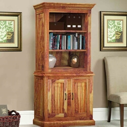 Bolton Rustic Solid Wood Open Shelves Bookshelf Storage Cabinet