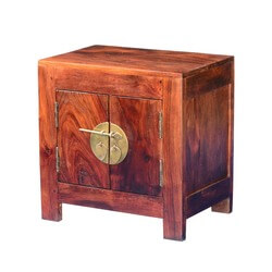 Strawberry Moon Indian Rosewood & Acacia End Table Cabinet