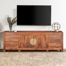 Strawberry Moon Solid Wood & Acacia Media Console Cabinet