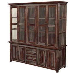 Texas Modern Rustic Solid Wood 5 Door Hutch & Buffet with 3 Drawers