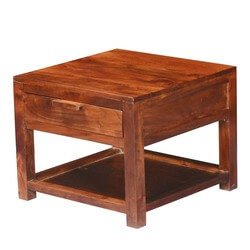 Modern Simplicity Acacia Wood Square 2 Tier End Table w Drawer