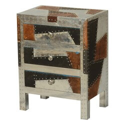 Metal Patches Mango Wood Nightstand End Table w Drawers