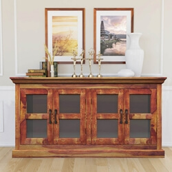 Dallas Ranch Solid Wood Buffet Cabinet w Glass Windows
