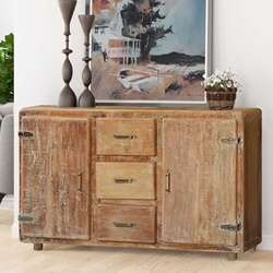 Rounded Corners Reclaimed Wood Rustic Storage Buffet Cabinet