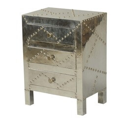 Metallic Madness Mango Wood 3 Drawer Nightstand End Table