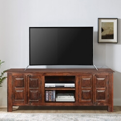 Log Cabin Traditional Reclaimed Wood TV Table Entertainment Cabinet