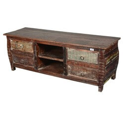 Rustic Cabin Reclaimed Wood Kettle Base TV Cabinet Media Center