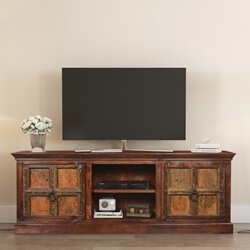 Sunset Gothic Mango & Reclaimed Wood TV Console Media Cabinet
