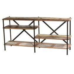 "Double X Reclaimed Wood & Iron 65"" Long Wall Unit Display Shelves"