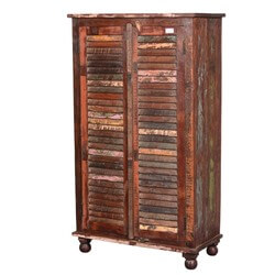 Painted Shutter Doors Reclaimed Wood Wardrobe Armoire Cabinet