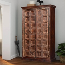 "Primitive Gothic Reclaimed Wood 71.5"" Armoire Wardrobe Cabinet"