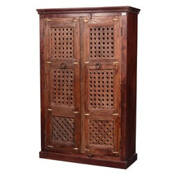 "Wooden Screen Door Reclaimed Wood 73.5"" Wardrobe Armoire Cabinet"