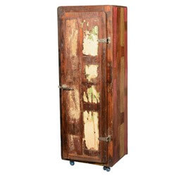 "Retro Rustic Reclaimed Wood 67"" Tall Rolling Wheels Storage Cabinet"