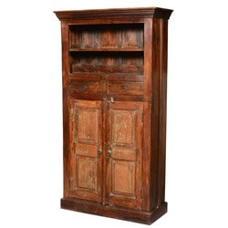 "Rustic Reclaimed Wood 71"" Tall Wine Rack Liquor Storage Cabinet"