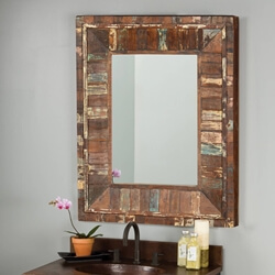 "Eco-Friendly 36"" Rustic Reclaimed Wood Handmade Wall Mirror"