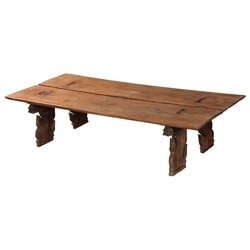 Dragon Wings Rustic Reclaimed Wood 2 Plank Coffee Table