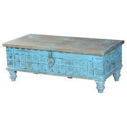 Sky Blue Hand Carved Reclaimed Wood Standing Coffee Table Chest