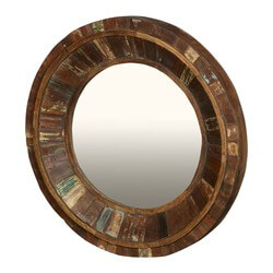 "Rustic Parquet Reclaimed Wood 32"" Circular Double Edged Mirror Frame"