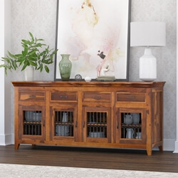 Modern Rustic Texas Solid Wood Sideboard 4 Door Buffet
