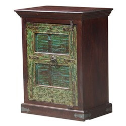 Gothic Green Door Mango & Reclaimed Wood Night Stand Mini Cabinet