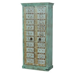 "Rustic Reclaimed Wood Old Door 75"" Armoire Storage Cabinet"